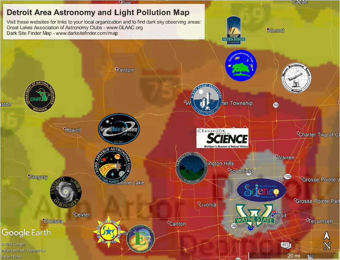 Detroit Area Astronomy and Light Pollution Map